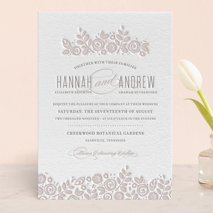 """White Shadows"" - Floral & Botanical, Hand Drawn Letterpress Wedding Invitations in Warm Grey by Jessica Williams."