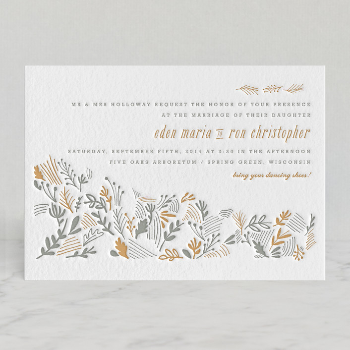 """The Grainfield"" - Floral & Botanical, Hand Drawn Letterpress Wedding Invitations in Slate by Moglea."