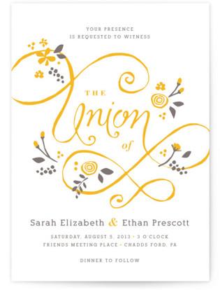 A More Perfect Union Letterpress Wedding Invitations
