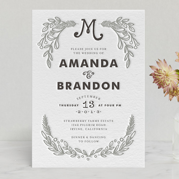 """""""Chalkboard"""" - Floral & Botanical, Hand Drawn Letterpress Wedding Invitations in Black by Alethea and Ruth."""