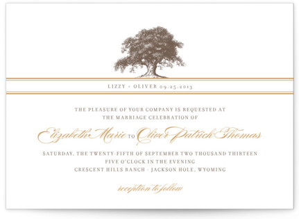 Oak Tree Letterpress Wedding Invitations