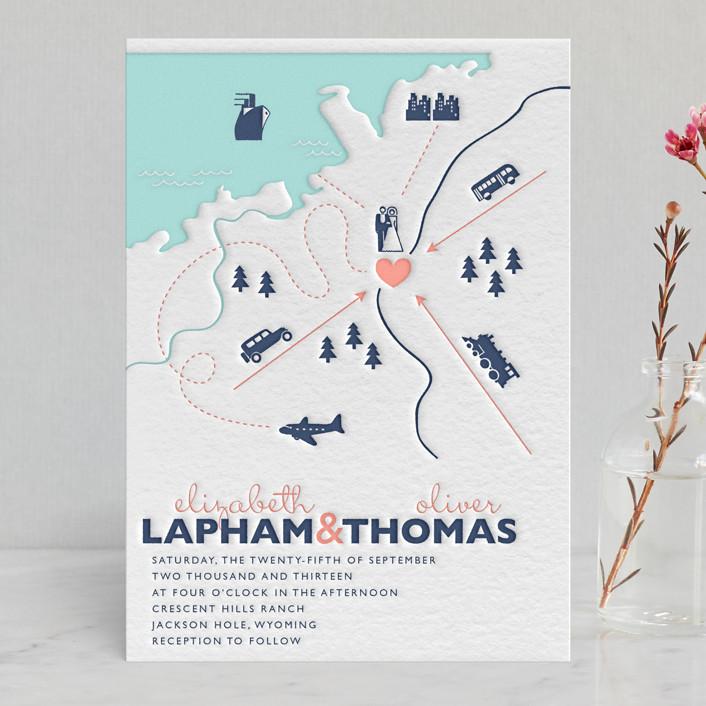 """Destination"" - Destination, Hand Drawn Letterpress Wedding Invitations in Navy by leslie hamer."
