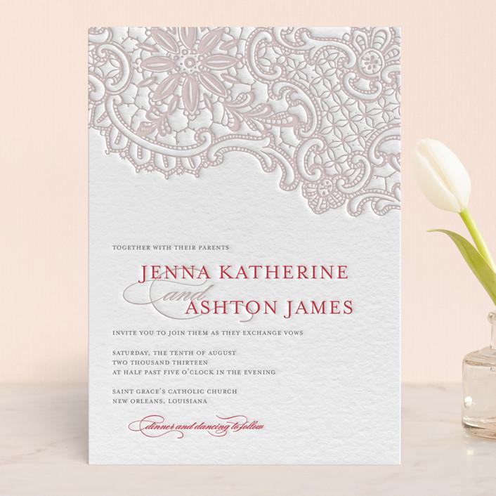 """White Lace"" - Vintage, Elegant Letterpress Wedding Invitations in Stone by Lauren Chism."