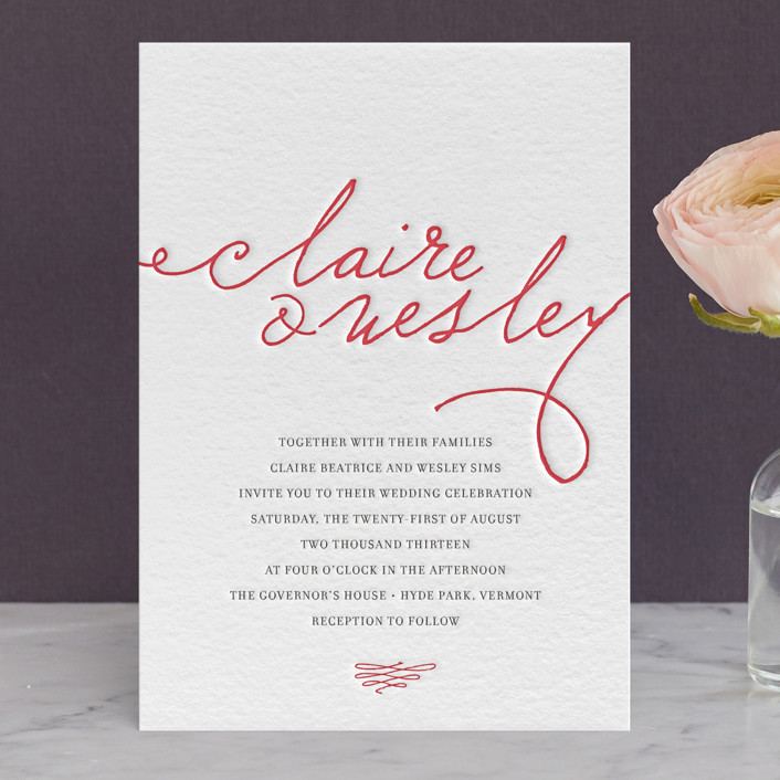 """Love Letter"" - Vintage, Elegant Letterpress Wedding Invitations in Cherry by annie clark."
