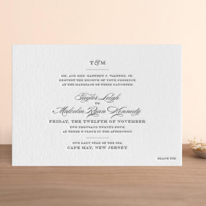 """""""Charming Go Lightly"""" - Elegant, Formal Letterpress Wedding Invitations in Stone by danielleb."""
