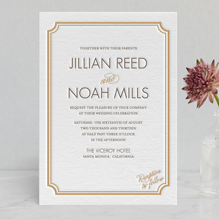 """Modern Classic"" - Vintage, Elegant Letterpress Wedding Invitations in Faux Gold by annie clark."