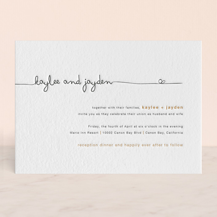 """The Happy Couple"" - Modern, Simple Letterpress Wedding Invitations in Charcoal by R studio."