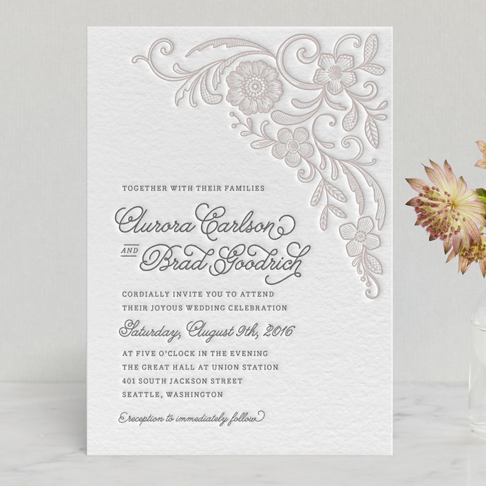 """Floral Embroidery"" - Classical, Elegant Letterpress Wedding Invitations in Cement by Hooray Creative."