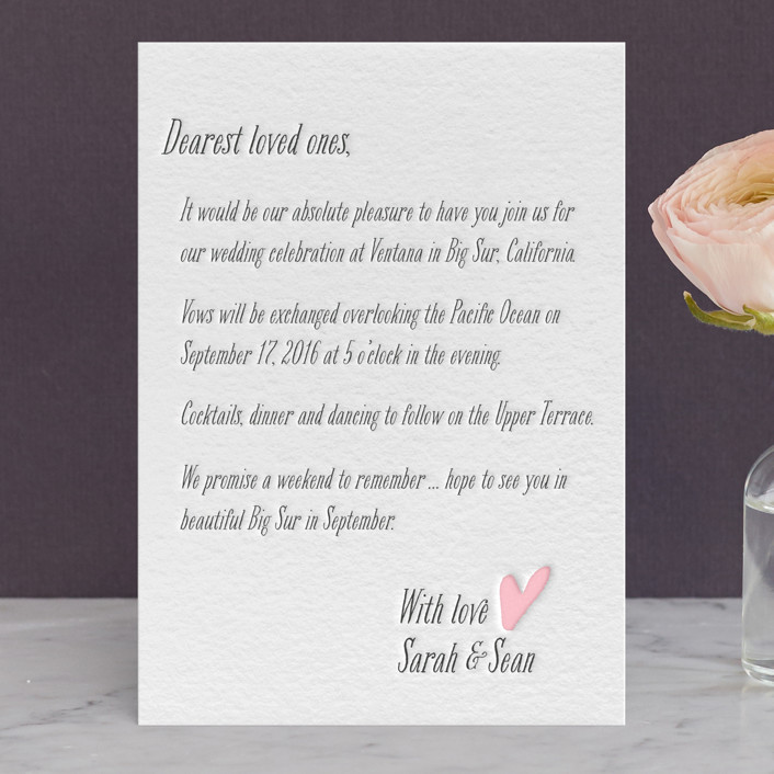 """""""Loved Ones"""" - Whimsical & Funny, Simple Letterpress Wedding Invitations in Classic Pink by Lizzy McGinn."""