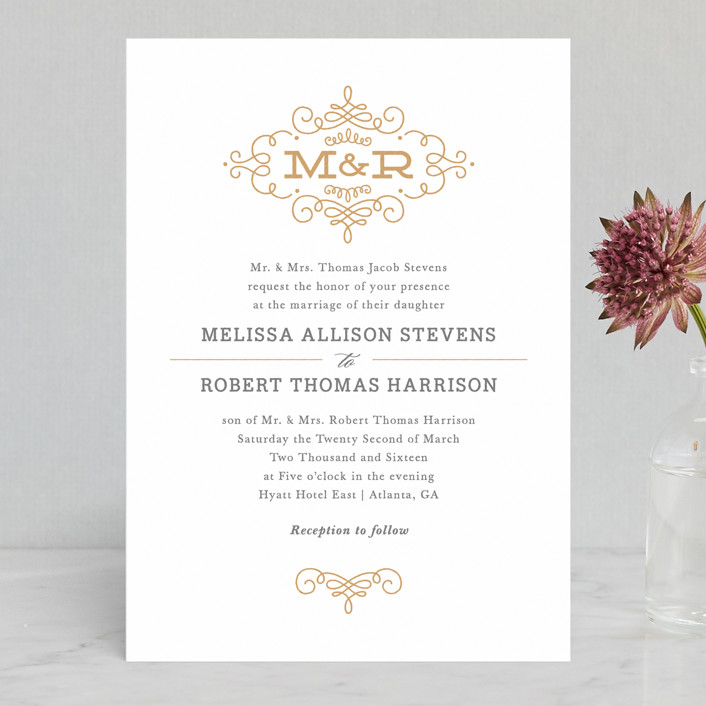 """Ornate Monogram"" - Classical, Monogrammed Letterpress Wedding Invitations in Faux Gold by Kristen Smith."