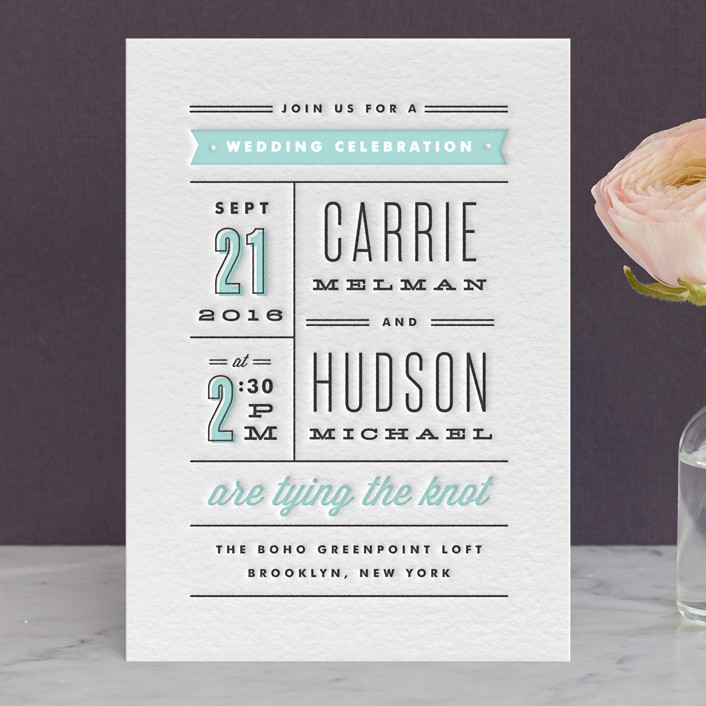 """Posted"" - Modern, Bold typographic Letterpress Wedding Invitations in Sea by Kristie Kern."