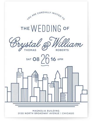 Cityscape Letterpress Wedding Invitations