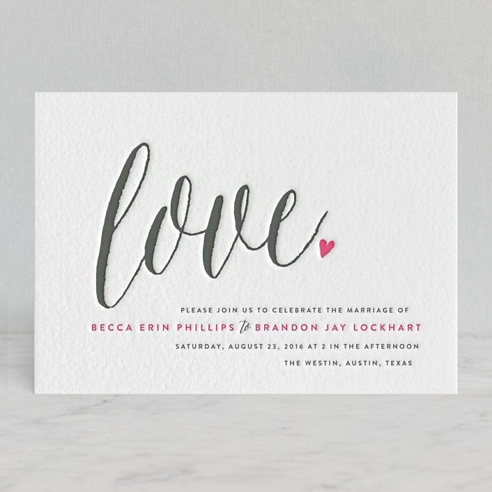 """Charming Love"" - Whimsical & Funny Letterpress Wedding Invitations in Fuchsia by Melanie Severin."