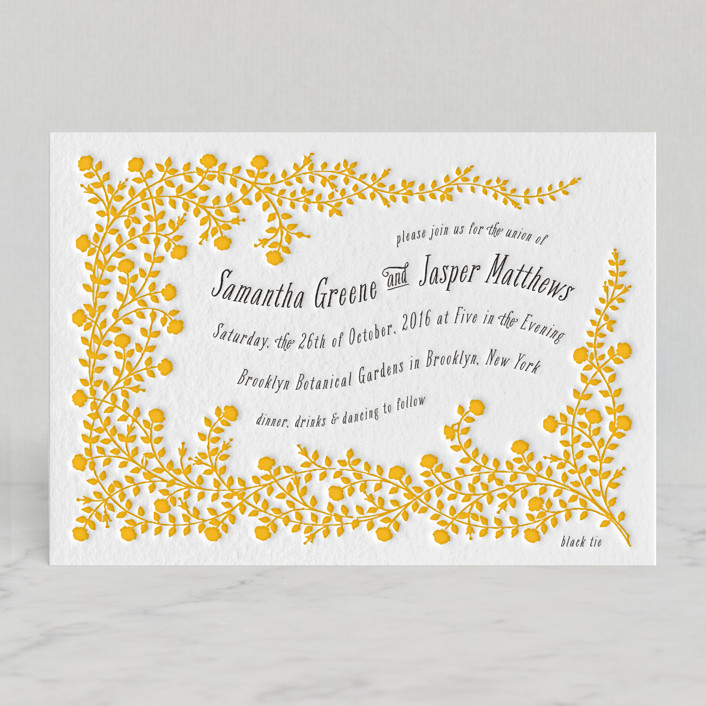 """""""Rose Garden"""" - Floral & Botanical Letterpress Wedding Invitations in Mustard by Snow and Ivy."""