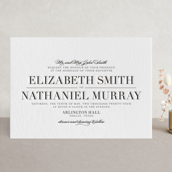 """""""Classic"""" - Classical, Simple Letterpress Wedding Invitations in Black by Lauren Chism."""