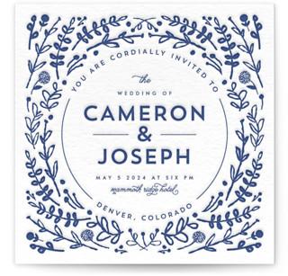 Floral Frame Letterpress Wedding Invitations