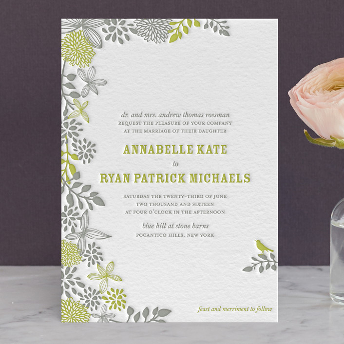 """Fling"" - Letterpress Wedding Invitations in Lime by Andrea Mentzer."