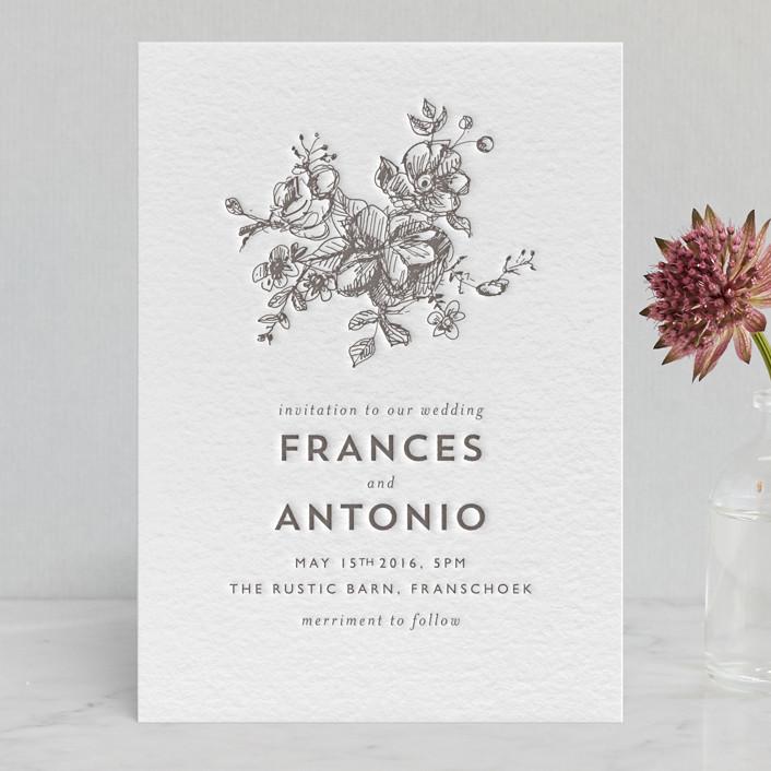 """""""Elegance Illustrated"""" - Modern, Hand Drawn Letterpress Wedding Invitations in Warm Grey by Phrosne Ras."""