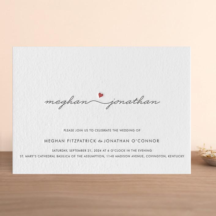 """Love Connection"" - Simple, Modern Letterpress Wedding Invitations in Black by Kim Dietrich Elam."