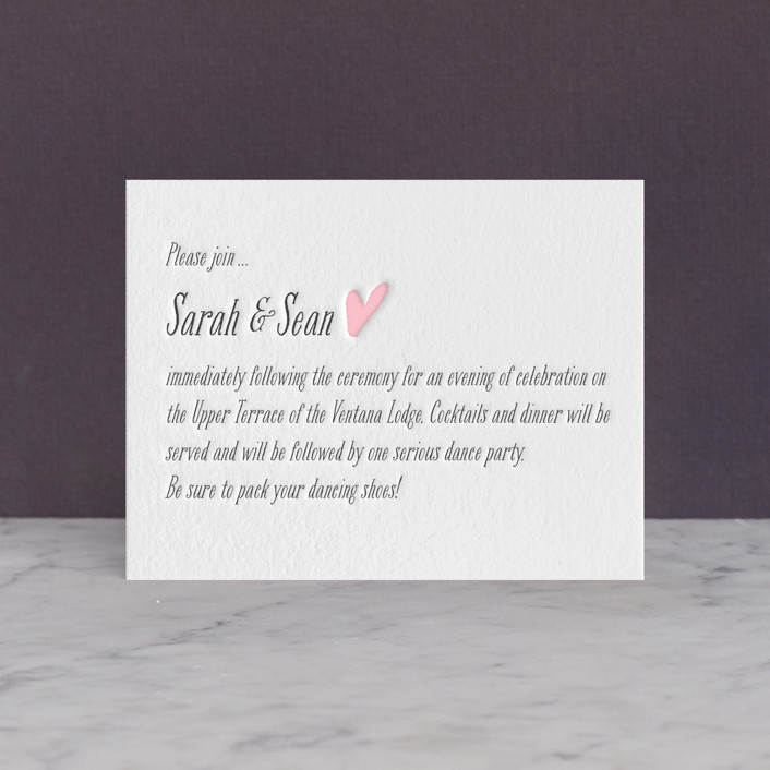 """Loved Ones"" - Letterpress Reception Cards in Classic Pink by Lizzy McGinn."