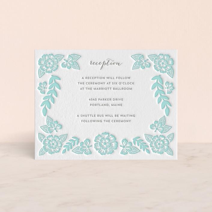"""Folk Floral"" - Letterpress Reception Cards in Sea by Katharine Watson."
