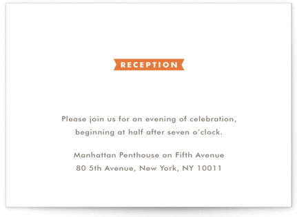 Modern Ribbon Letterpress Reception Cards