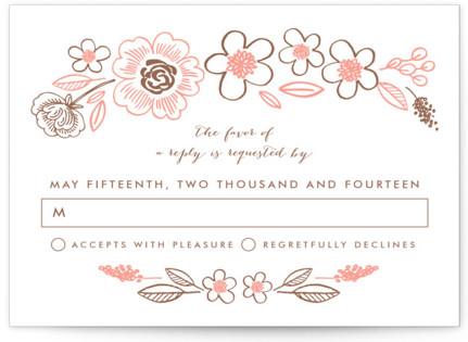 Botanical Wreath Letterpress RSVP Cards