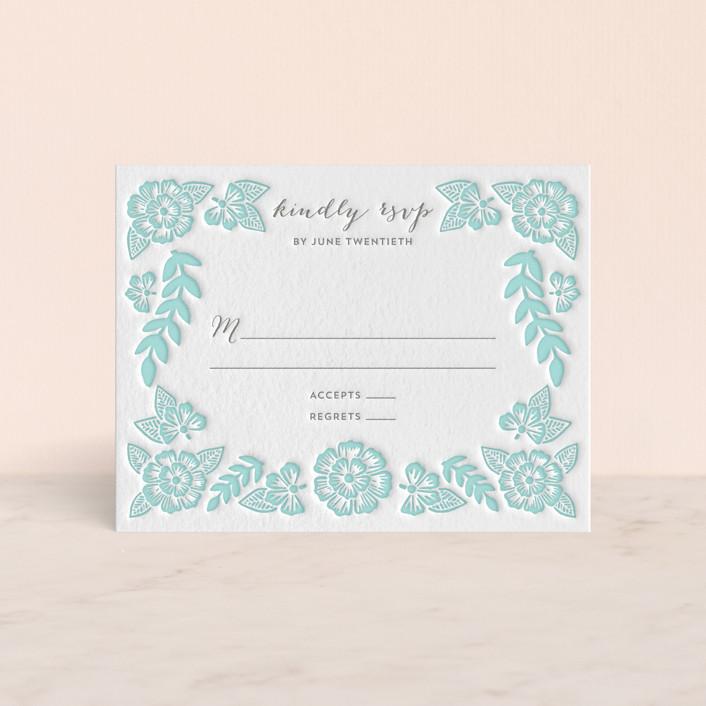 """Folk Floral"" - Letterpress Rsvp Cards in Sea by Katharine Watson."