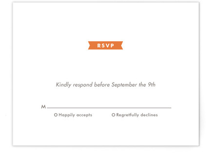 Modern Ribbon Letterpress RSVP Cards