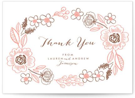 Botanical Wreath Letterpress Thank You Cards