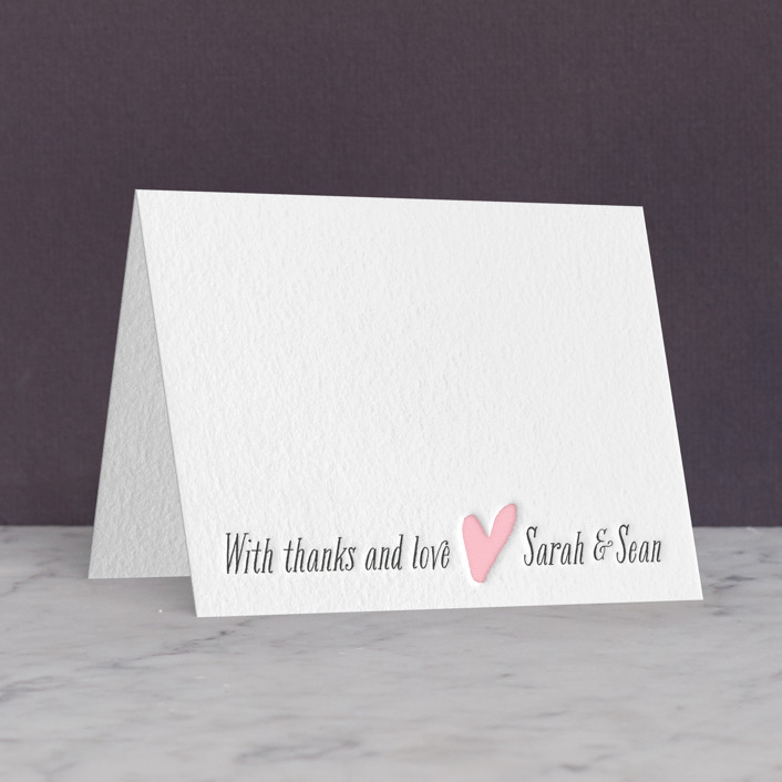 """""""Loved Ones"""" - Letterpress Thank You Cards in Classic Pink by Lizzy McGinn."""
