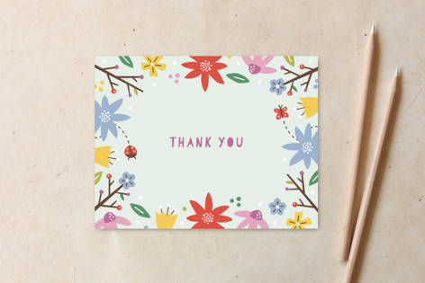 Woodland Floral Thank You Non-Custom A2 Cards
