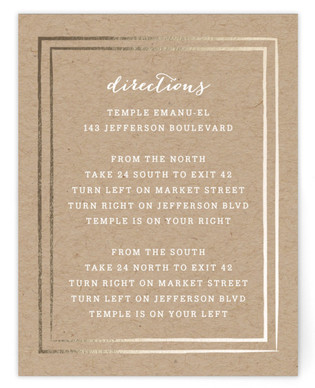 Gold Rush Foil-Pressed Mitzvah Directions Cards