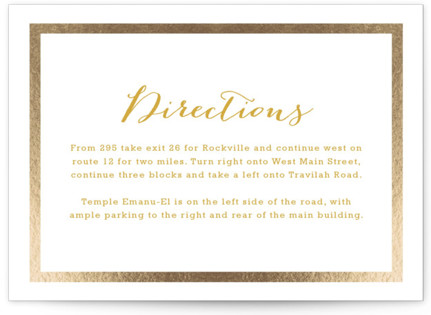 Modern Photo Frame Foil-Pressed Mitzvah Directions Cards