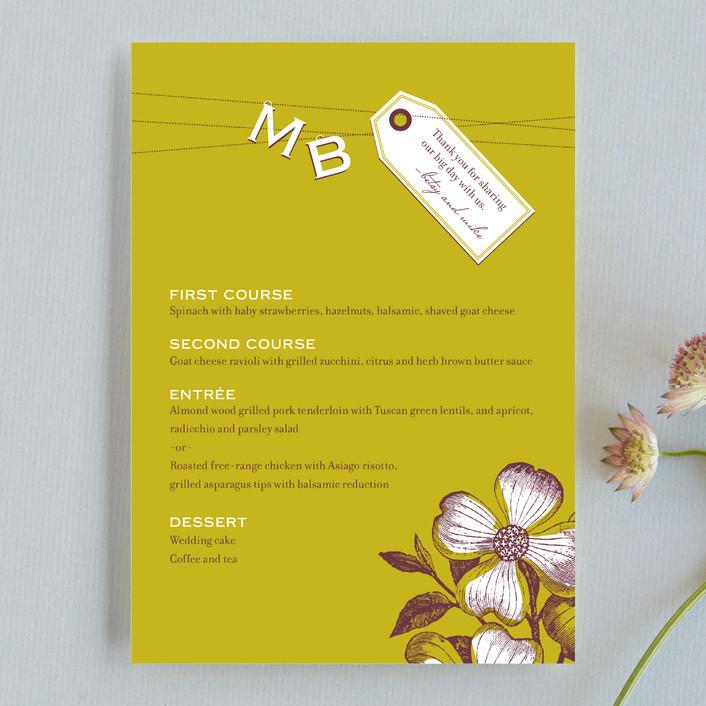 """Charmed"" - Monogrammed, Floral & Botanical Menu Cards in Avocado by Oscar & Emma."