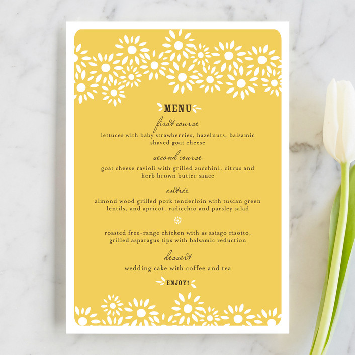 """""""Daisy Chain"""" - Whimsical & Funny Menu Cards in Mustard Yellow by annie clark."""