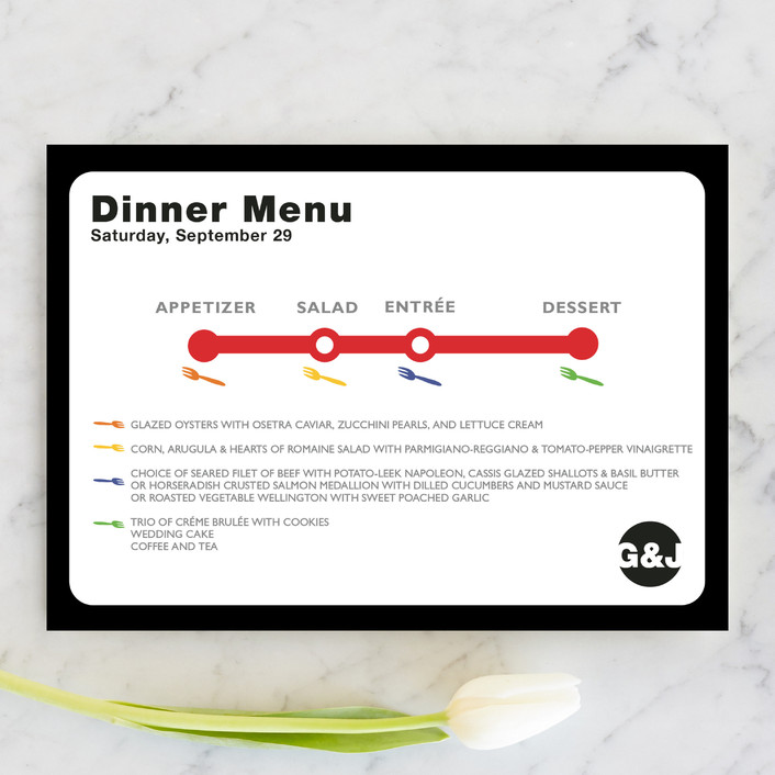 """Dinner Map"" - Modern Menu Cards in Cloud by Fred Designs."