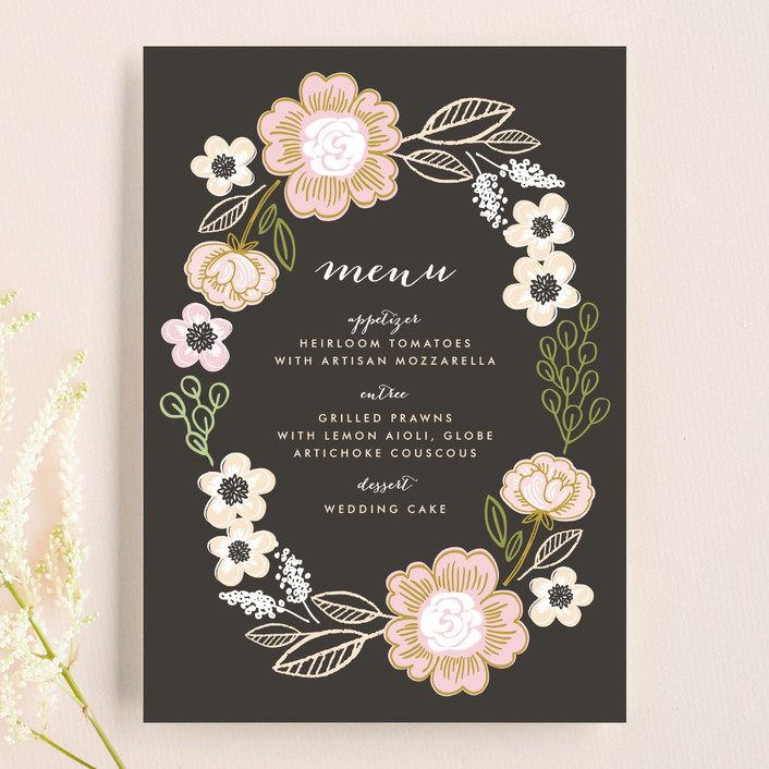 """""""Botanical Wreath"""" - Floral & Botanical, Hand Drawn Menu Cards in Charcoal by Alethea and Ruth."""