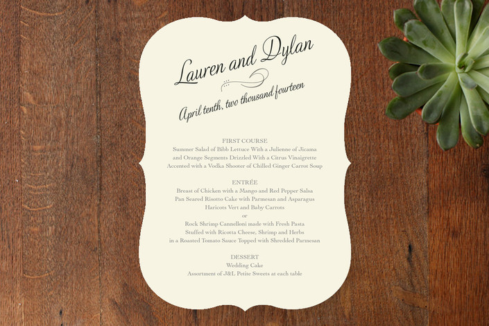 """Just My Type"" - Classical, Formal Menu Cards in Tuxedo by Ann Gardner."