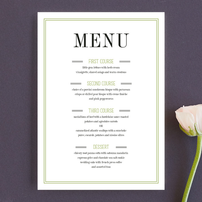 """Wed in Type"" - Modern Menu Cards in Moss by Ariel Rutland."