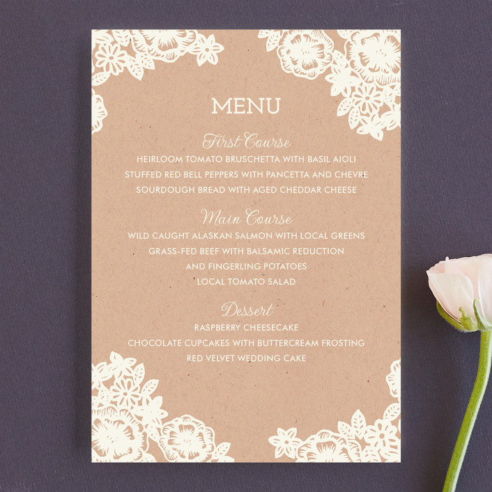 """""""Lace and Kraft"""" - Formal, Classical Menu Cards in Kraft by Katharine Watson."""