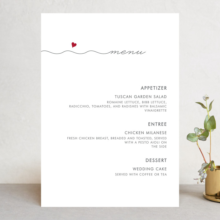 """""""Love Connection"""" - Modern Menu Cards in Red Hot by Kim Dietrich Elam."""