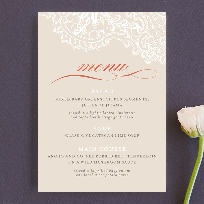 """""""White Lace"""" - Classical, Formal Menu Cards in Coral Rose by Lauren Chism."""