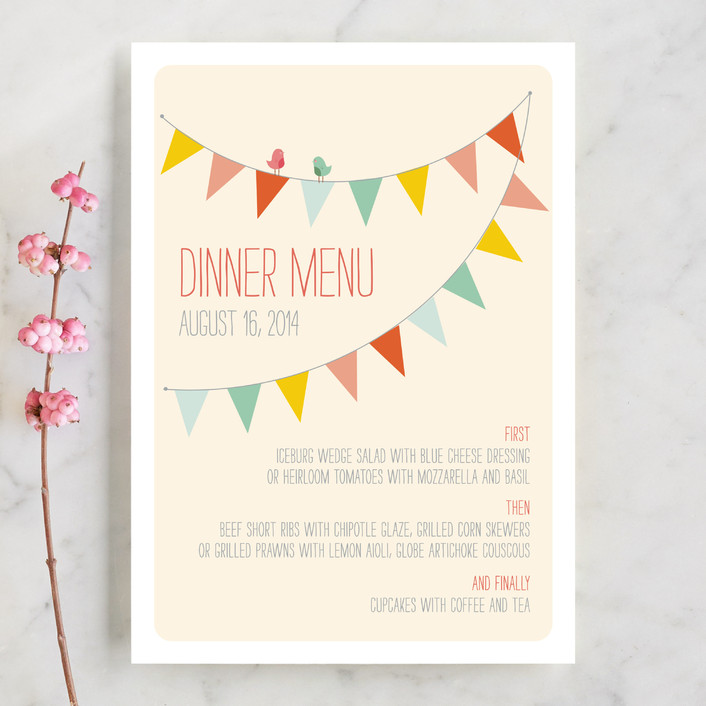 """Barn Party!"" - Rustic, Modern Menu Cards in Peach by ZucchiniPress."