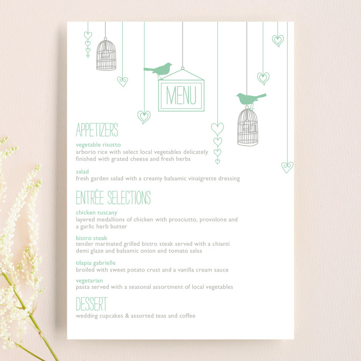 """""""Love Let Loose"""" - Rustic Menu Cards in Seaglass by Paisley Tree Press."""
