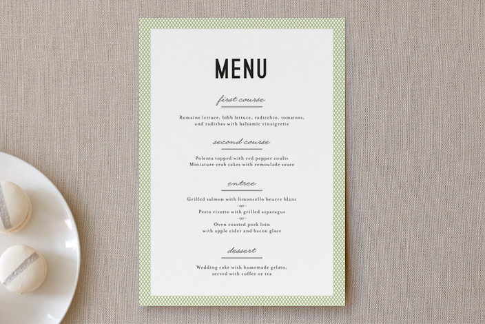 """""""Dot and Cross"""" - Modern Menu Cards in Grass by Olivia Raufman."""