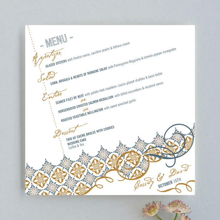 """Fine Dining"" - Modern Menu Cards in Cadet Blue by Mandy Rider."