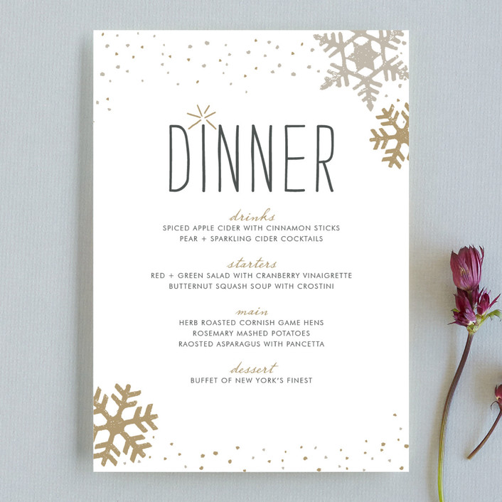 """Silver and Gold"" - Modern, Rustic/Craft Menu Cards in Gold by Jody Wody."
