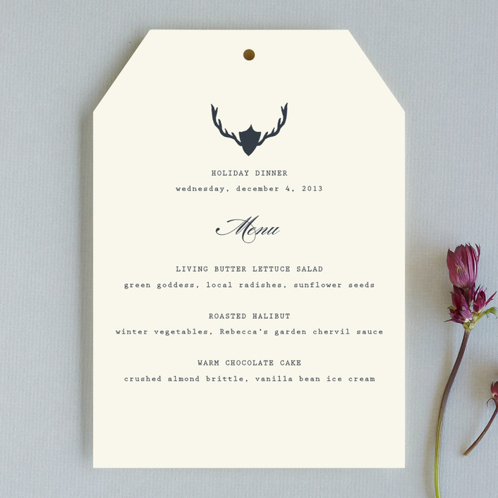 """Fireside Feast"" - Simple Menu Cards in Navy by toast & laurel."