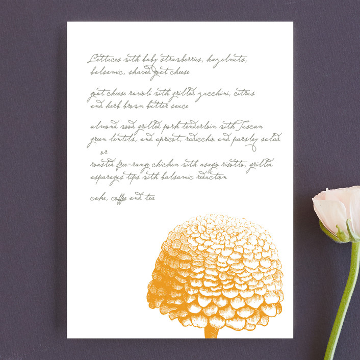 """""""My Pretty Sunday"""" - Floral & Botanical Menu Cards in Pumpkin by Emily Ranneby."""